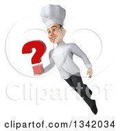 Clipart Of A 3d Young White Male Chef Holding A Question Mark And Flying Royalty Free Illustration