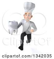 Clipart Of A 3d Young White Male Chef Holding A Tooth And Sprinting Royalty Free Illustration