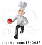 Clipart Of A 3d Young White Male Chef Holding A Tomato And Sprinting Royalty Free Illustration