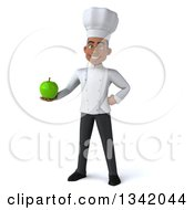 Clipart Of A 3d Young Black Male Chef Holding A Green Apple Royalty Free Illustration