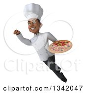 Clipart Of A 3d Young Black Male Chef Holding A Pizza And Flying Royalty Free Illustration