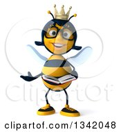 Clipart Of A 3d Happy Bespectacled Queen Bee Presenting And Holding A Book Royalty Free Illustration