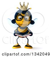 Clipart Of A 3d Sad Bespectacled Queen Bee Reading A Book Royalty Free Illustration