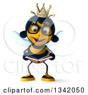 Clipart Of A 3d Happy Bespectacled Queen Bee Reading A Book Royalty Free Illustration