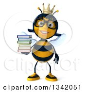 Clipart Of A 3d Happy Bespectacled Queen Bee Holding A Stack Of Books Royalty Free Illustration
