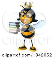 Clipart Of A 3d Happy Bespectacled Queen Bee Holding And Pointing To A Stack Of Books Royalty Free Illustration