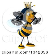 Clipart Of A 3d Happy Queen Bee Facing Slightly Right Working Out Doing Shoulder Presses With Dumbbells Royalty Free Illustration