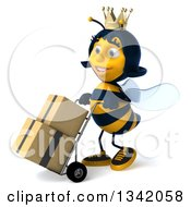 Clipart Of A 3d Happy Queen Bee Walking To The Left And Moving Boxes On A Dolly Royalty Free Illustration