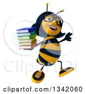 Clipart Of A 3d Bespectacled Female Bee Holding A Stack Of Books And Jumping Royalty Free Illustration