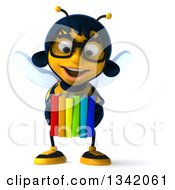 Clipart Of A 3d Bespectacled Female Bee Holding Books Royalty Free Illustration