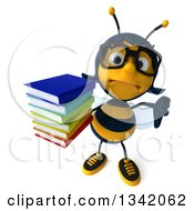 Clipart Of A 3d Bespectacled Female Bee Holding Up A Thumb Down And A Stack Of Books Royalty Free Illustration