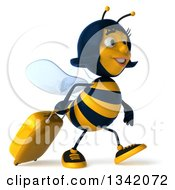 Clipart Of A 3d Happy Traveling Female Bee Walking To The Right With A Rolling Suitcase Royalty Free Illustration