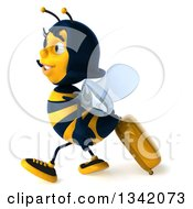 Clipart Of A 3d Happy Traveling Female Bee Walking To The Left With A Rolling Suitcase Royalty Free Illustration