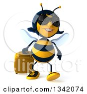 Clipart Of A 3d Happy Traveling Female Bee Wearing Sunglasses And Walking With A Rolling Suitcase Royalty Free Illustration