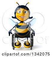 Clipart Of A 3d Happy Handicap Female Bee Sitting In A Wheelchair Royalty Free Illustration