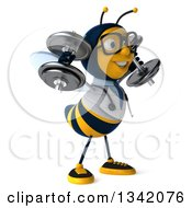 Clipart Of A 3d Happy Bespectacled Bee Doctor Working Out Facing Right And Doing Shoulder Presses With Dumbbells Royalty Free Illustration by Julos
