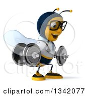 Clipart Of A 3d Happy Bespectacled Bee Doctor Working Out Facing Right And Doing Squats With Dumbbells Royalty Free Illustration by Julos