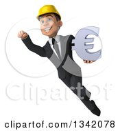 Clipart Of A 3d Young White Male Architect Flying With A Euro Currency Symbol Royalty Free Illustration