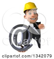 Clipart Of A 3d Young White Male Architect Holding An Email Arobase At Symbol Around A Sign Royalty Free Illustration