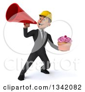 Clipart Of A 3d Young White Male Architect Holding A Pink Frosted Cupcake And Announcing With A Red Megaphone Royalty Free Illustration