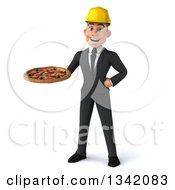 Clipart Of A 3d Young White Male Architect Holding A Pizza Royalty Free Illustration