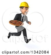 Clipart Of A 3d Young White Male Architect Holding A Pizza And Sprinting To The Right Royalty Free Illustration