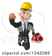Clipart Of A 3d Young White Male Architect Holding A Beef Steak And Flying Royalty Free Illustration