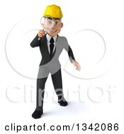 Clipart Of A 3d Young White Male Architect Searching With A Magnifying Glass Royalty Free Illustration
