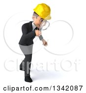 Clipart Of A 3d Young White Male Architect Facing Slightly Right Looking Down And Searching With A Magnifying Glass Royalty Free Illustration