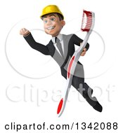 Clipart Of A 3d Young White Male Architect Holding A Toothbrush And Flying Royalty Free Illustration