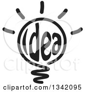 Clipart Of A Black Idea Text Shining Light Bulb Royalty Free Vector Illustration