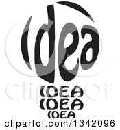 Clipart Of A Black And White Idea Text Light Bulb Royalty Free Vector Illustration