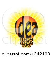 Clipart Of A Shining Idea Text Light Bulb Royalty Free Vector Illustration