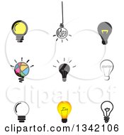 Clipart Of Light Bulb Icons Royalty Free Vector Illustration