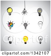 Clipart Of Light Bulb Icons Over Shading Royalty Free Vector Illustration