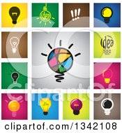 Clipart Of Square Light Bulb Button App Icon Design Elements Royalty Free Vector Illustration