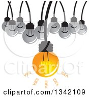 Clipart Of A Suspended Idea Light Bulb And Plain Bulbs Royalty Free Vector Illustration by ColorMagic