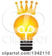 Clipart Of A Crowned Light Bulb Royalty Free Vector Illustration