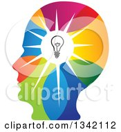 Clipart Of A Colorful Human Head Silhouette With A Shining Light Bulb Royalty Free Vector Illustration