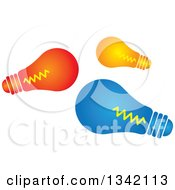 Clipart Of Red Orange And Blue Light Bulbs Royalty Free Vector Illustration