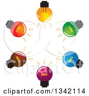 Clipart Of A Brainstorm Circle Of Colorful Idea Light Bulbs Royalty Free Vector Illustration