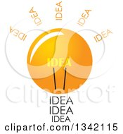 Clipart Of A Light Bulb With Idea Text Royalty Free Vector Illustration
