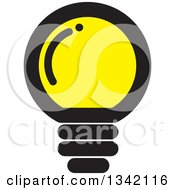 Clipart Of A Round Black And Yellow Light Bulb Royalty Free Vector Illustration