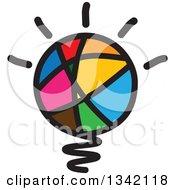 Clipart Of A Colorful Abstract Sketched Shining Light Bulb Royalty Free Vector Illustration