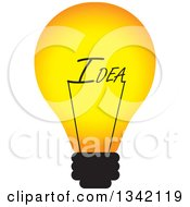 Clipart Of A Light Bulb With An Idea Text Filament Royalty Free Vector Illustration