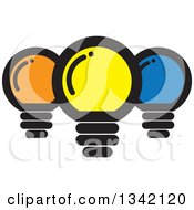 Clipart Of Yellow Orange And Blue Light Bulbs Royalty Free Vector Illustration