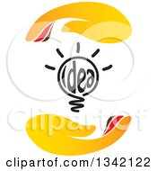 Clipart Of A Shining Idea Text Light Bulb Between Hands Royalty Free Vector Illustration