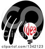 Clipart Of A Black Hand Over An Idea Text Light Bulb Royalty Free Vector Illustration