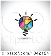 Clipart Of A Colorful Abstract Sketched Shining Light Bulb Over Shading Royalty Free Vector Illustration