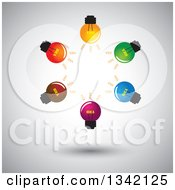 Clipart Of A Brainstorm Circle Of Colorful Idea Light Bulbs Over Shading Royalty Free Vector Illustration